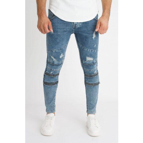 Zip Skinny Jeans - kék cipzáros farmer - Méret: 31