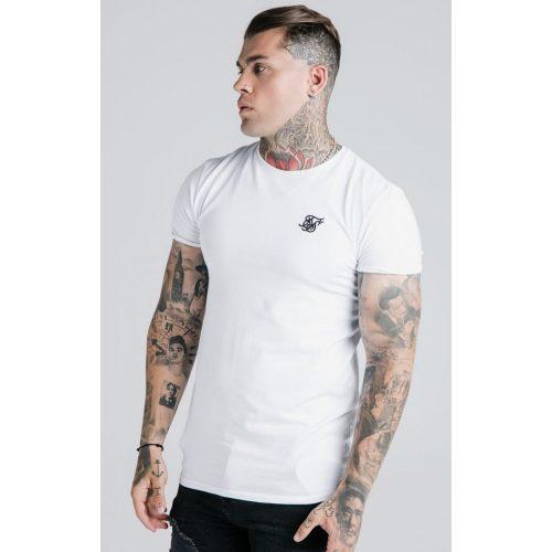 SIKSILK WHITE GYM TEE - fehér slim fit póló - Méret: S