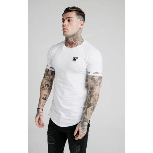 SIKSILK WHITE TECH TEE - fehér slim fit póló - Méret: S