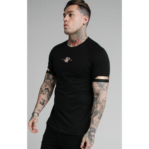 SIKSILK DUAL CUFF TEE - fekete slim fit póló - Méret: XL