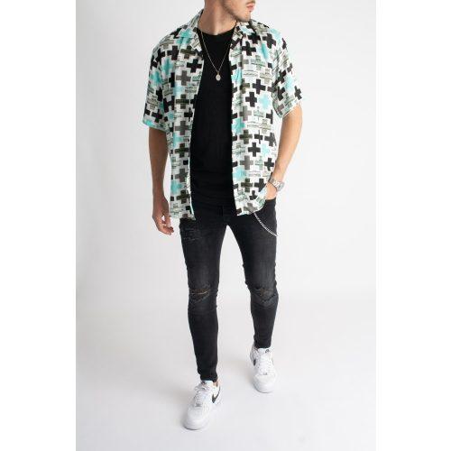 Plus Shirt - mintás rövid ujjú ing - Méret: L