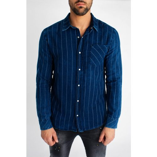 Striped Denim Shirt - kék farmering - Méret: M