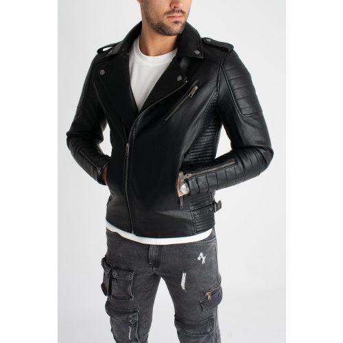 Varsity Biker Jacket - fekete motoros dzseki - Méret: L