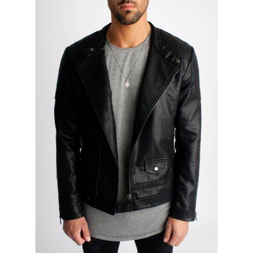 Ebony Biker Jacket - fekete bőrdzseki - Méret: XXL