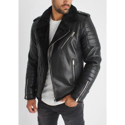 Black Aviator Biker Jacket - bélelt motorosdzseki - Méret: M