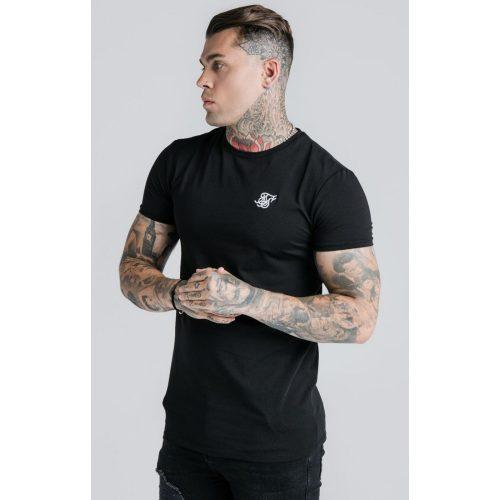 SIKSILK BLACK GYM TEE - fekete slim fit póló - Méret: M