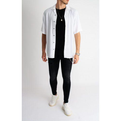 White Sculpture Shirt - fehér rövid ujjú ing - Méret: XL