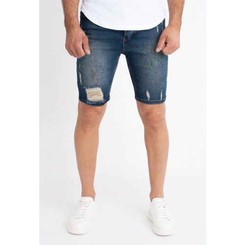 Blue Painted Skinny Short - szaggatott rövidnadrág - Méret: 36