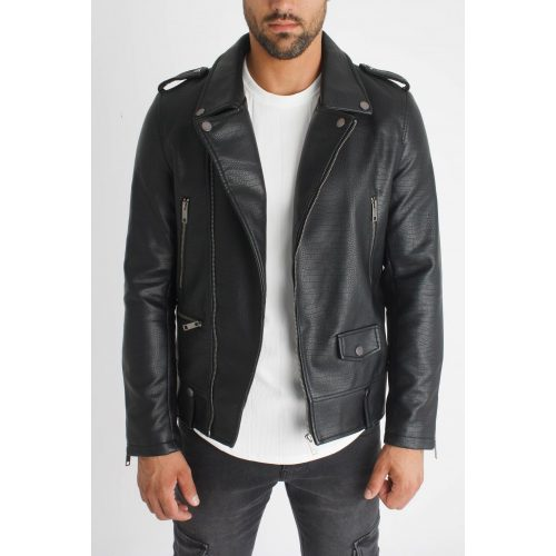 Snake Biker Jacket -fekete motoros dzseki - Méret: L
